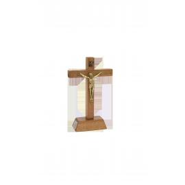 CRUCIFIJO MADERA CON BASE CRISTO METAL 11cm