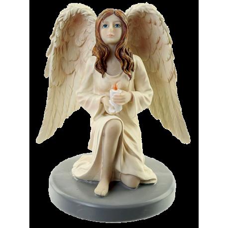 ANGEL GUARDIAN ORANDO DE RODILLAS CON VELA 15 CM. (ANGP18)