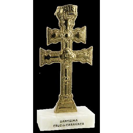 CRUZ CARAVACA METAL DORADO SIN ANGELES BASE 17X8CM
