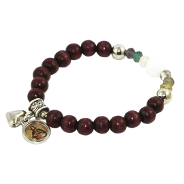PULSERA JUDAS MADERA BOLA MARRON 8mm